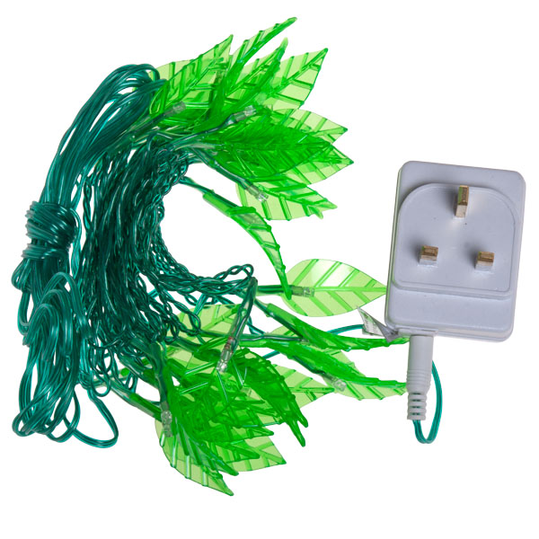 Konstsmide 2.9m Length Of 30 Indoor Static Green LEDs with Green leaves. Clear Cable.