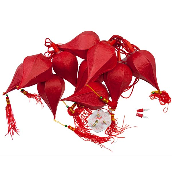 Konstsmide 2.25m Length Of 10 Red Indoor Chinese Lantern Static Fairy Lights Red Cable