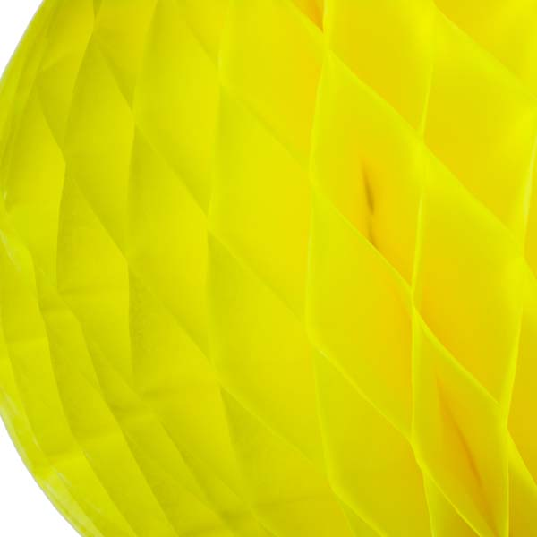 Yellow Flame Resistant Honeycomb Paper Ball Hanging Decoration - 30cm