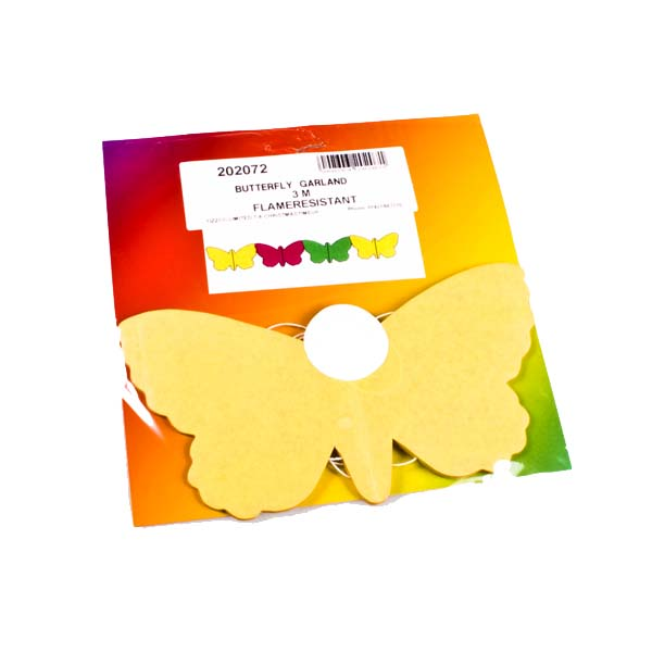 Yellow/Orange/Green Butterfly Flame Retardant Paper Garland - 3m
