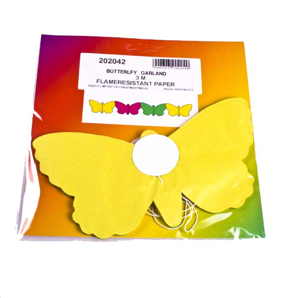Yellow/Pink/Green Butterfly Flame Retardant Paper Garland - 3m