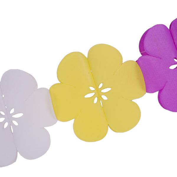 White/Yellow/Pink Flower Flame Retardant Garland - 3m