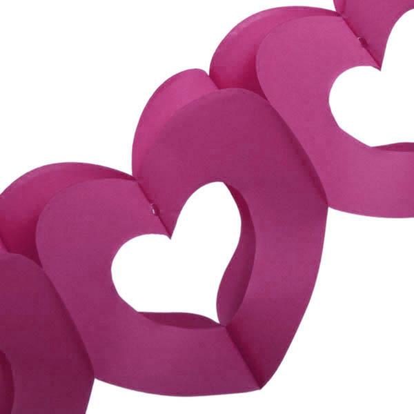 Dark Pink Paper Heart Garland - 3m