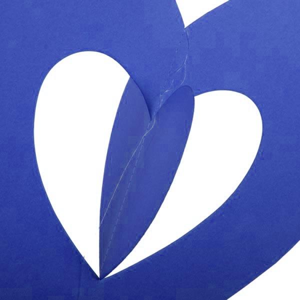 Blue Hanging Paper Heart Decoration - 30cm