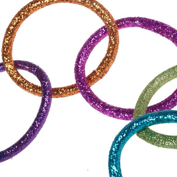 Multicoloured Glitter Chain Link Garland - 8cm X 1.5m