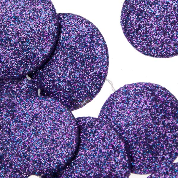 Purple Glitter Disc Garland - 180cm