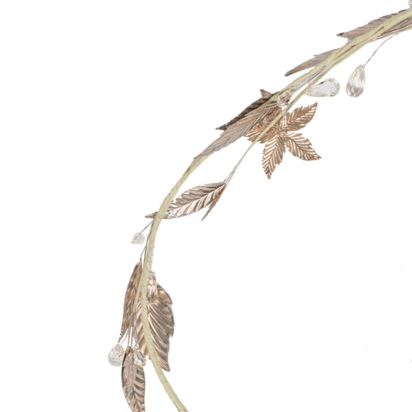 Decorative Garland With Gold Metal Leaves & Flowers - 120cm