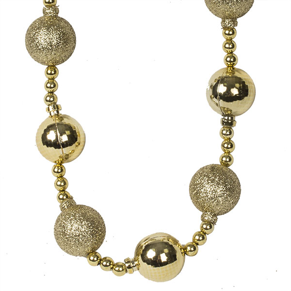 Gold Bauble And Bead Christmas Garland - 2.7m