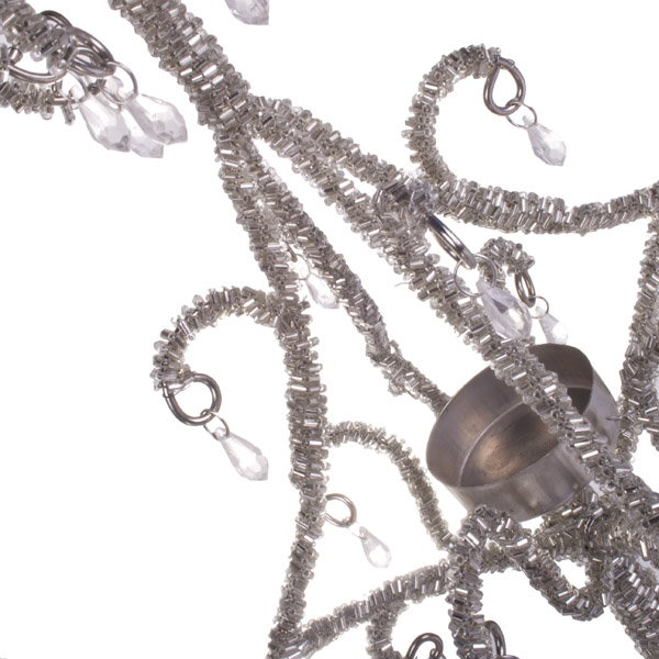 Pewter Tall Standing Chandelier Tea Light Holder - 44cm X 16cm