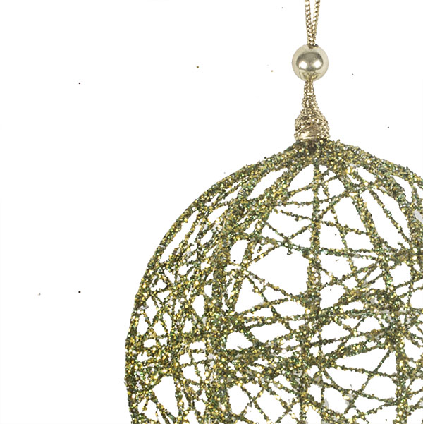 Decorative Olive Green Wire Mesh Hanging Ball - 13cm