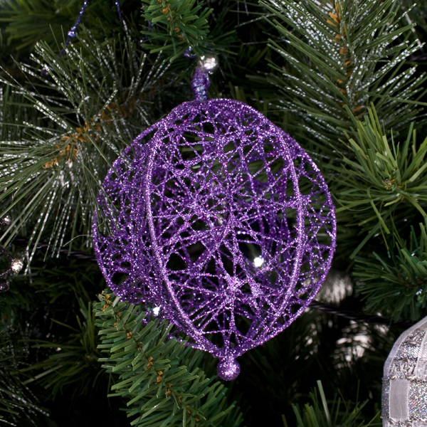 Decorative Purple Wire Mesh Hanging Ball - 13cm