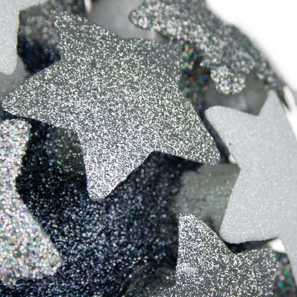 White/Silver/Silver Laser 3D Star Bauble - 200mm
