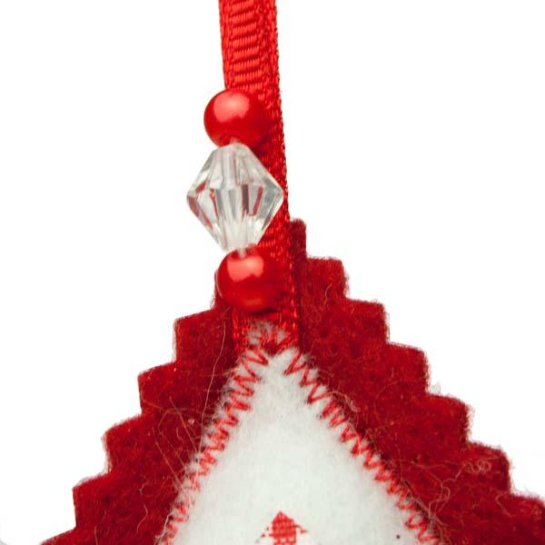 Red Scalloped Edged Felt Star Hanging Decoration - 10cm