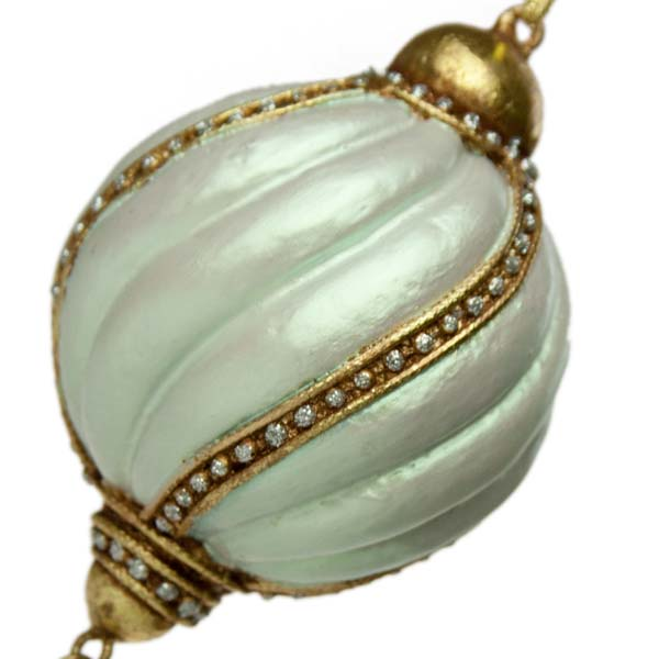Ornate Iridescent Pale Green Swirl Design Ball with Droplet - 6.5cm