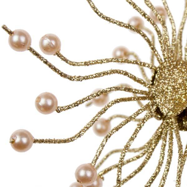 Gold Glitter & Bead Spangle Decoration - 100mm