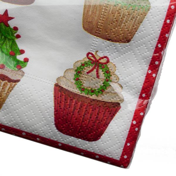 Christmas Lunch Napkins - Christmas Cupcakes