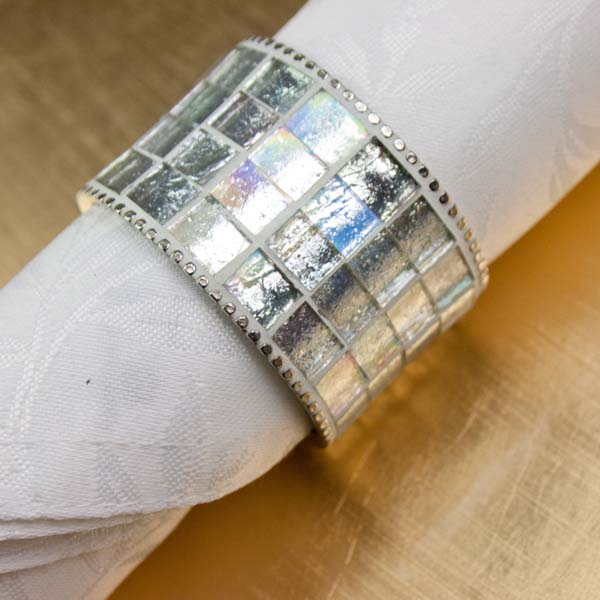 Silver Napkin Ring With Iridescent Silver Glass Inlay