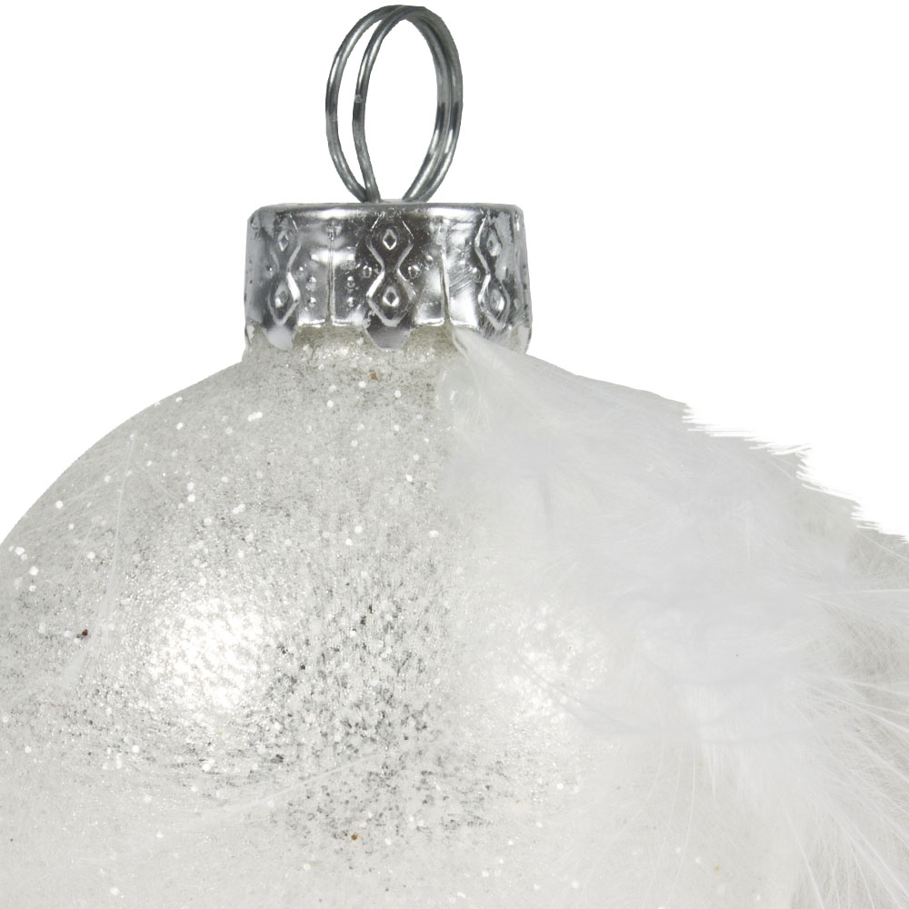 White Glass Bauble Placecard Holders With Feather - Set Of 4