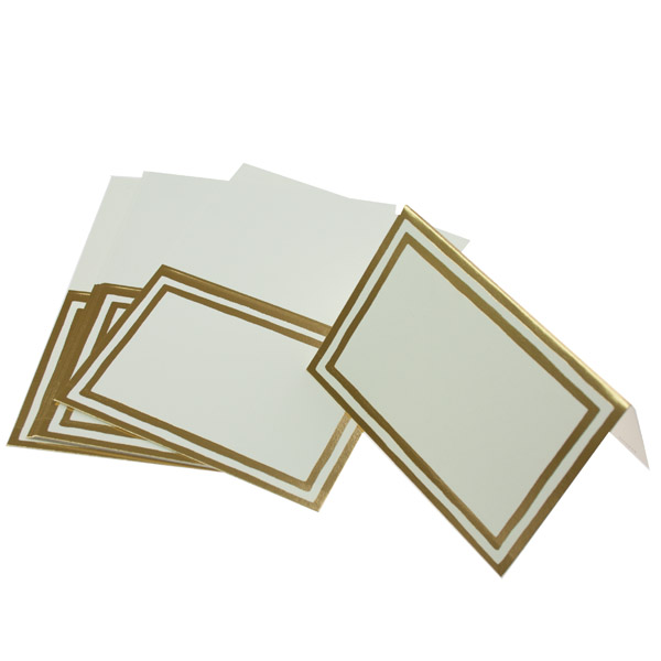Pack Of 8 Gold Striped Border Placecards