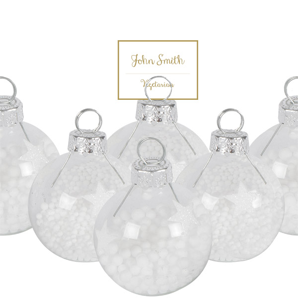 Box of 6 x Clear Glass Placecard Holders With Stars & Snowballs - 4cm