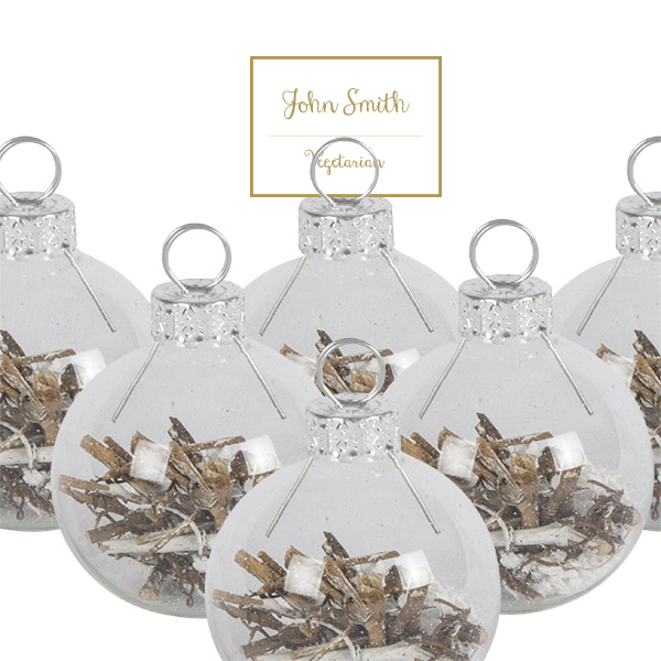 Box of 6 x Clear Glass Placecard Holders With Twigs & Snow - 4cm