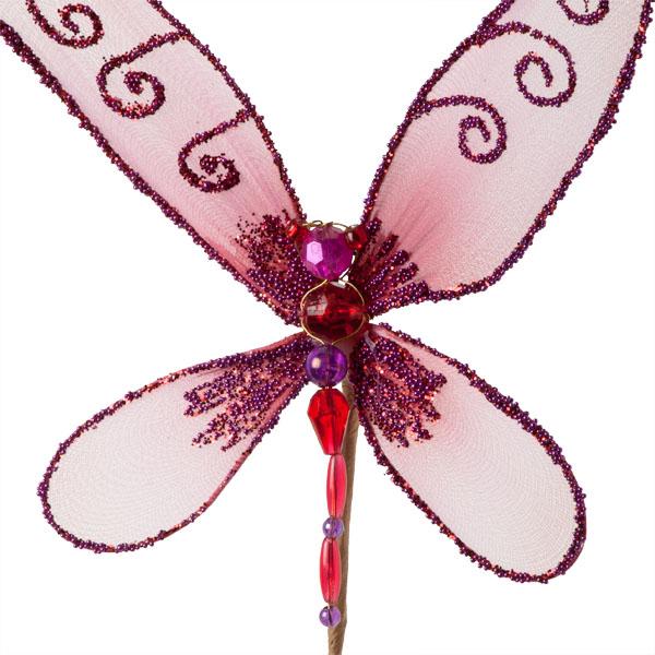 Cerise Pink Net Dragonfly Pick - 15cm Wide