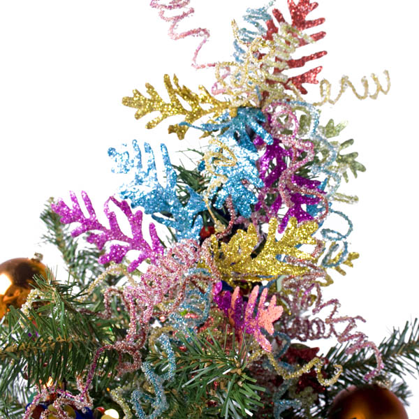 Multi Colour Leaf And Spring Coral Clip - 18cm
