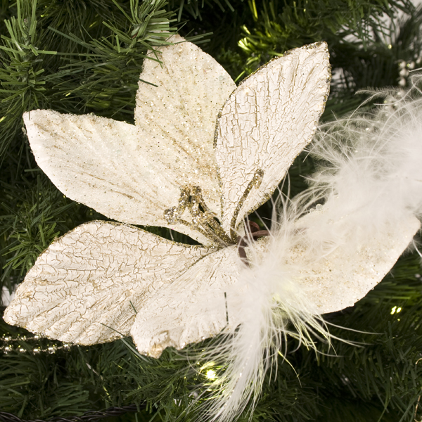 Ivory & Platinum Amarylis With Feather Detail on a Clip - 20cm
