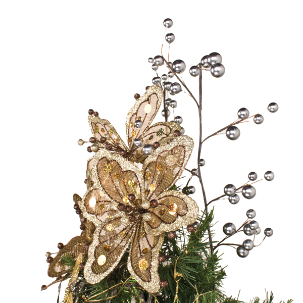 Brown & Platinum Sheer Flower Clip - 20cm