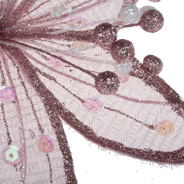 Pink & Iridescent Sheer Flower Clip - 20cm