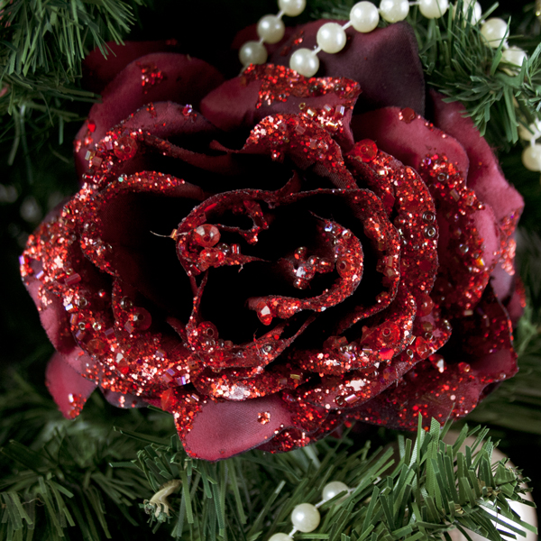 Dark Red Silk Sparkle Rose Clip - 14cm