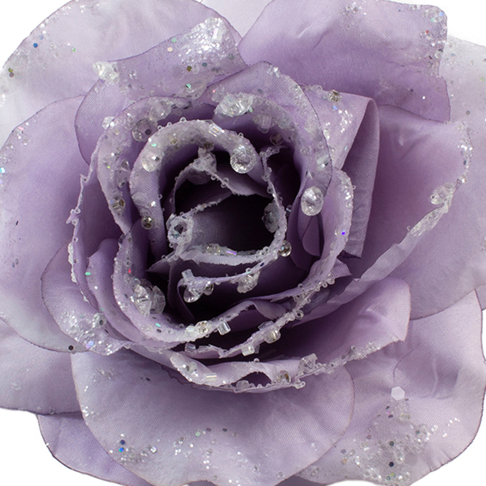 Frosted Lilac Silk Sparkle Rose Clip - 14cm