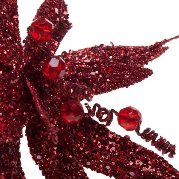 Red Glitter Fern Flower On Clip - 17cm