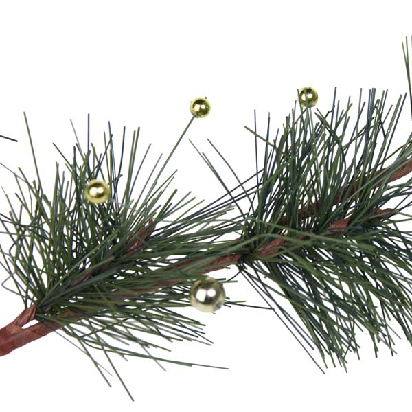 Green Pine Foliage Spray With Gold Berries