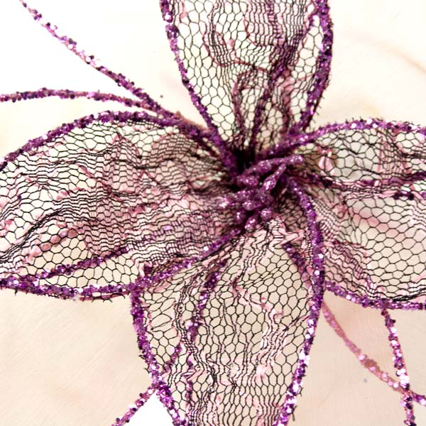 Pink Decorative Organza Fabric Flower With Lace Detailing - 25cm