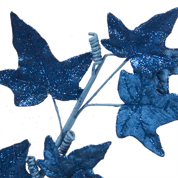 Blue Glitter Finish Ivy Spray - 68cm
