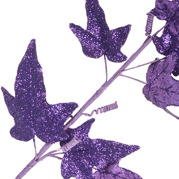 Purple Glitter Finish Ivy Spray - 68cm