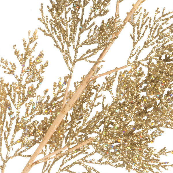 Gold Glitter Fern Spray - 70cm