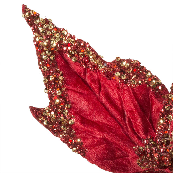 Red & Gold Glitter And Beaded Decorative Display Poinsettia On Clip - 40cm