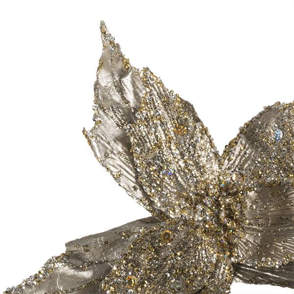 Platinum Metallic Finish Two Tone Poinsettia On Clip - 28cm