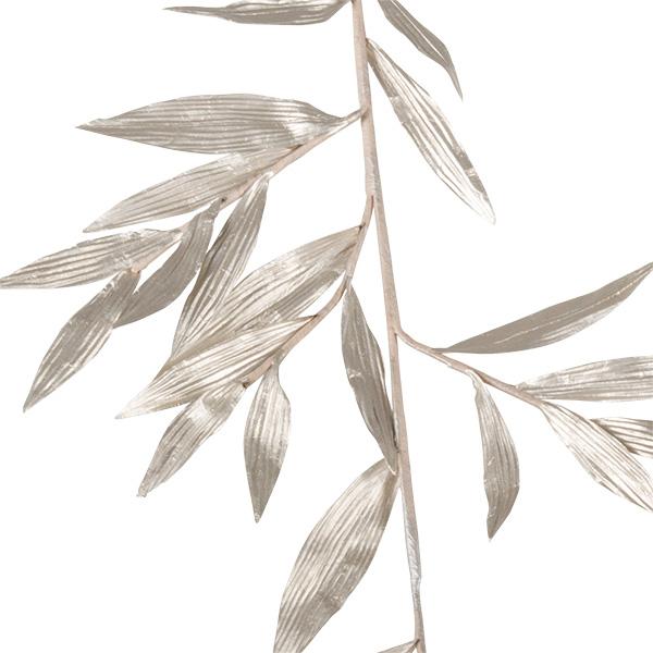Platinum Metallic Finish Leaf Spray - 81cm