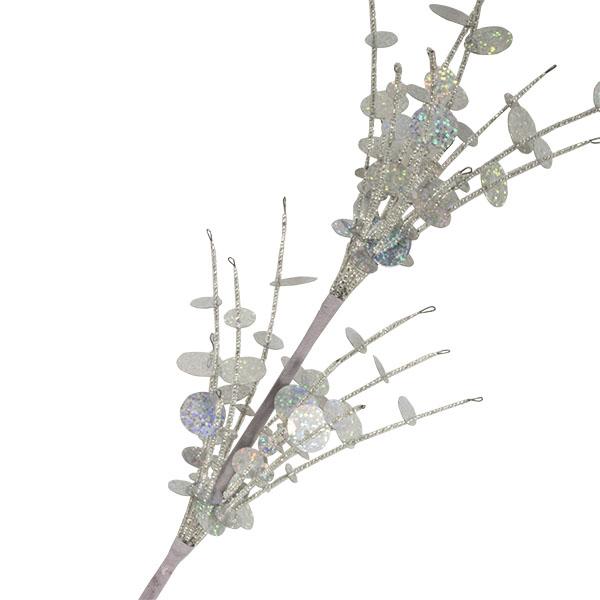 Silver Bead And Sequin Fountain Spray - 35cm