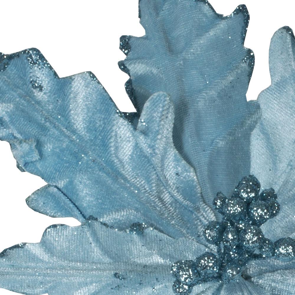 Decorative Pale Blue Velour Poinsettia Flower On Clip - 25cm