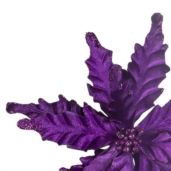 Decorative Purple Velour Poinsettia Flower On Clip - 25cm