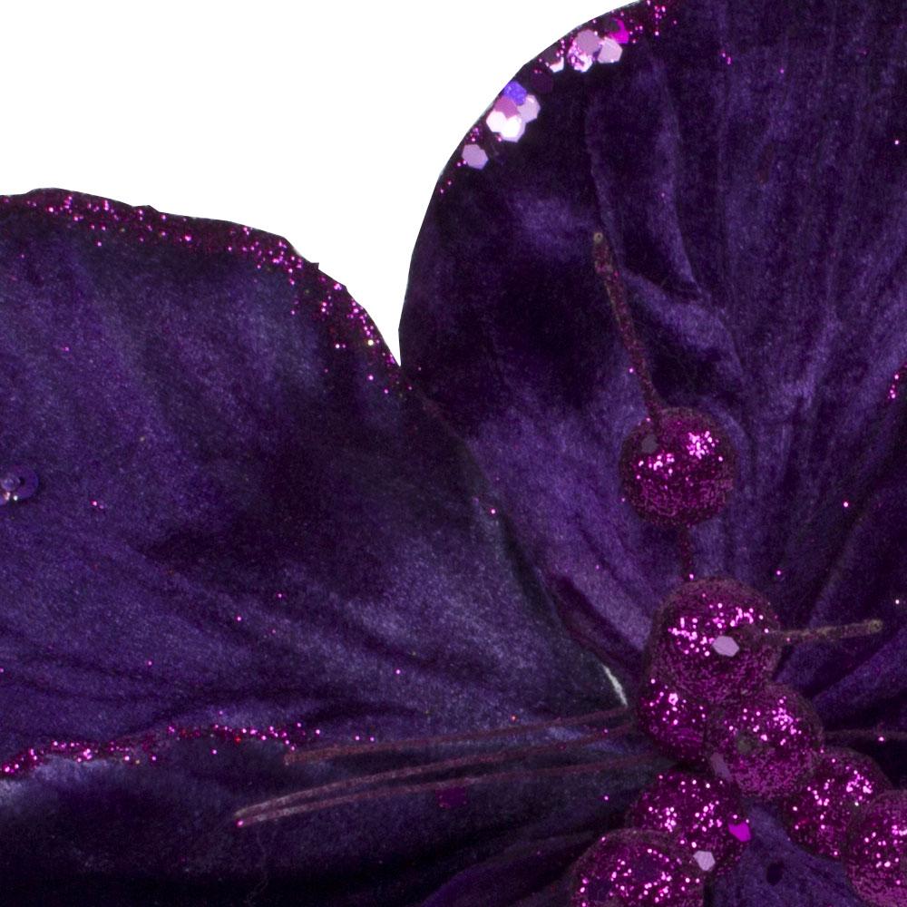 Decorative Purple Hibiscus Flower On Clip - 20cm