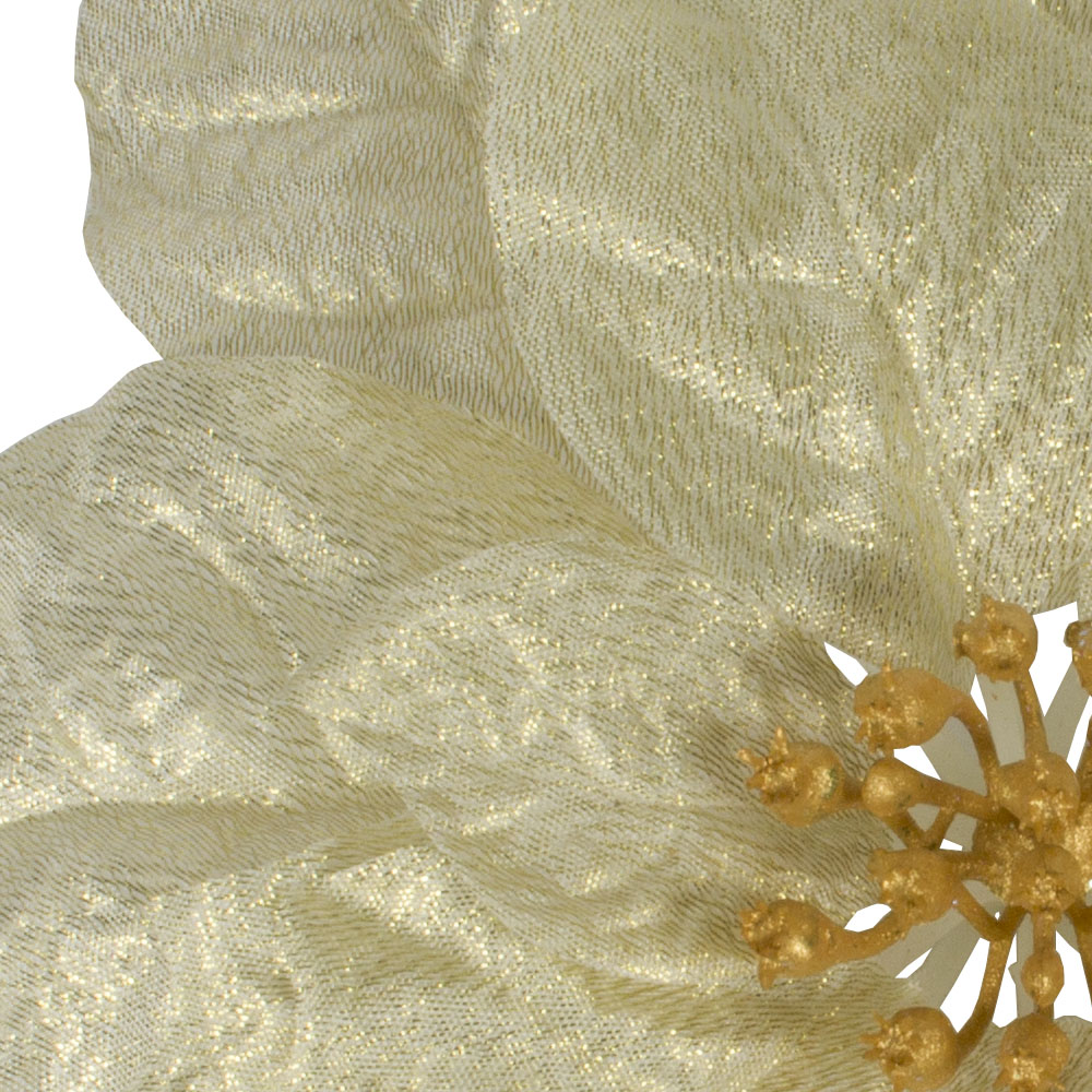 Metallic Gold Silk Poinsettia On Clip - 27cm
