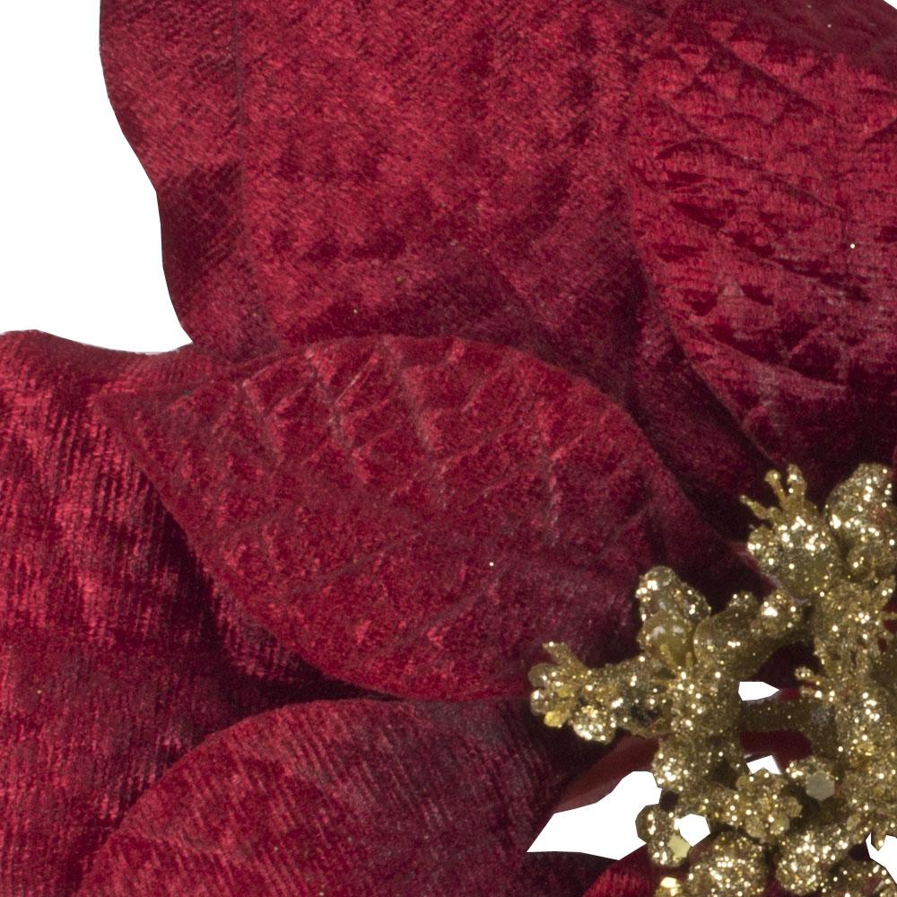 Red Fabric Poinsettia Clip With Gold Glitter Centre - 24cm