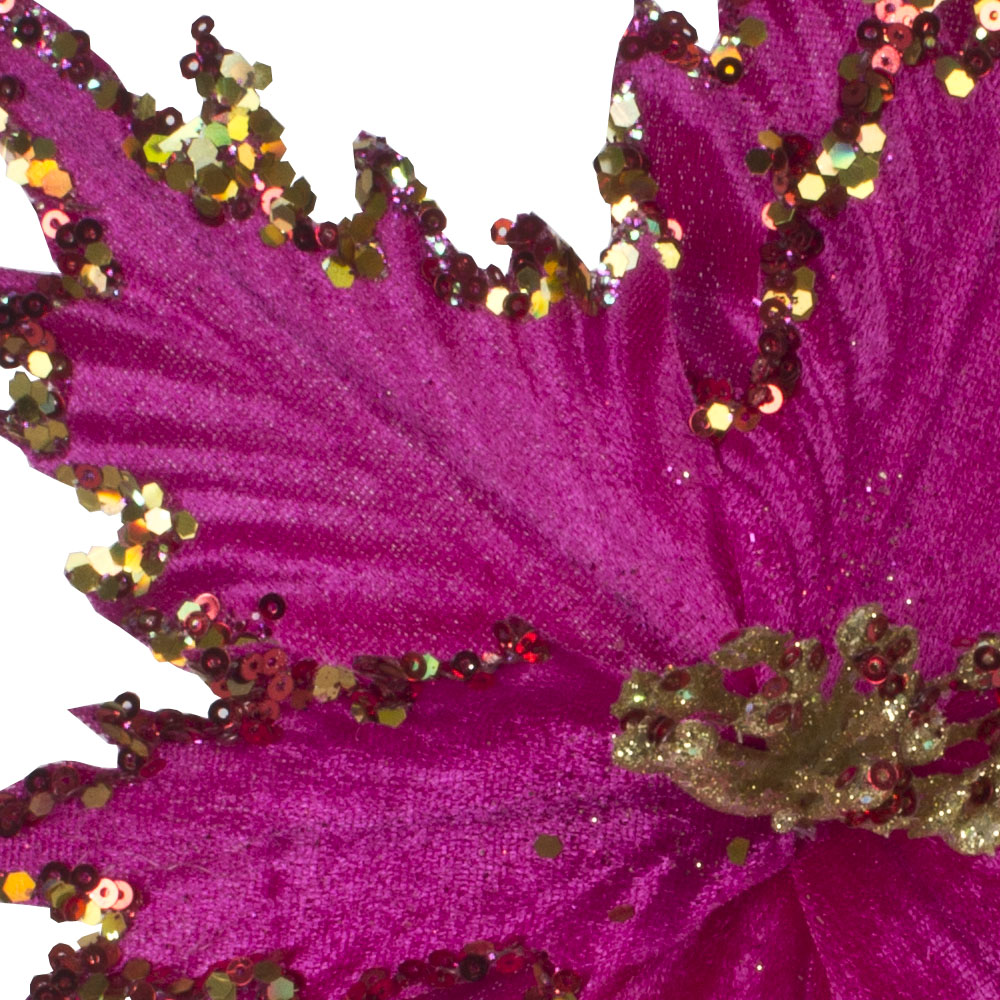 Cerise Spiky Flower On Clip With Gold Glitter Detail - 25cm