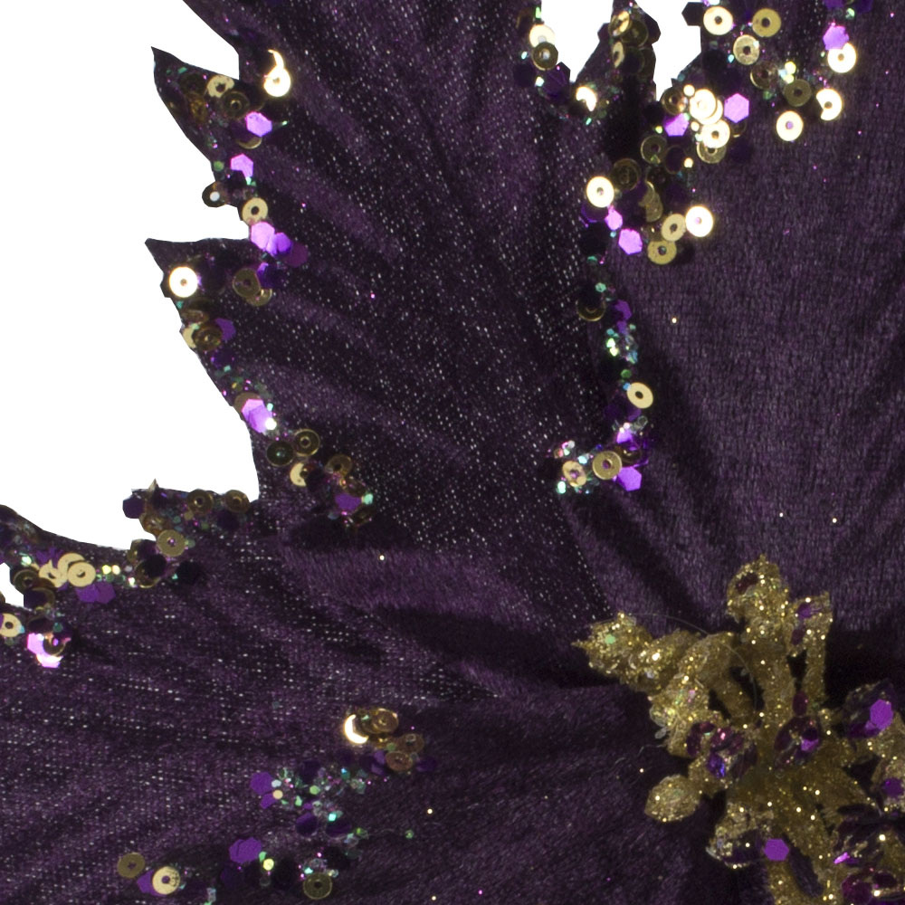 Purple Spiky Flower On Clip With Gold Glitter Detail - 25cm