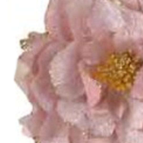 Decorative Blush Pink Fabric Flower With Beads On Clip - 16cm X 8cm